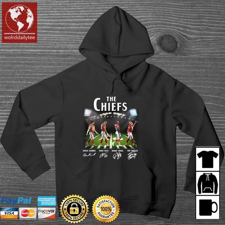The Chiefs Abbey Road Patrick Mahomes Travis Kelce signatures Wolrddailytee hoodie den